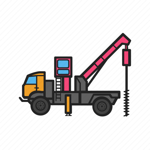 boring, building, construction, construction machinery, machine, work icon
