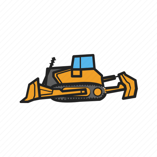 building, bulldozer, construction, construction machinery, work icon