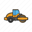 building, construction, construction machinery, paver, work icon