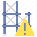 danger, incomplete, scaffolding, sign icon