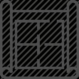 building plan, flat plan, house plan, mock up, plan, schematic, wireframe icon