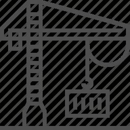 construction, crane, design, hook, illustration, lift icon