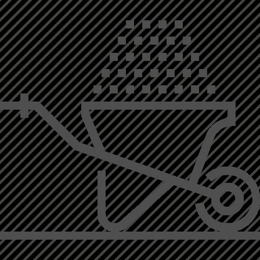 barrow, cart, construction, trolley, wheel, wheel barrow icon