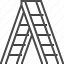 carpentery, ladder, ladders, stairs, step ladder, white icon