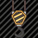 construction, crane, heavy, hook, lifting icon