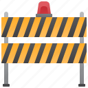 barrier, close, construction, signal, warning icon