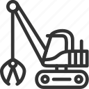 build icon, construction, excavator, heavy, transportation icon