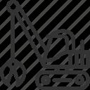 build icon, construction, excavator, heavy, transportation