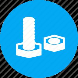 bolt, construction, equipment, hardware, metal, nut, tools icon