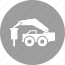 building, construction, destroy, heavy machine, machine, rock breaker, truck icon