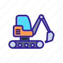 construction, engineering, excavator, tractor, work icon