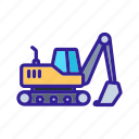 construction, equipment, excavator, motor, technology icon