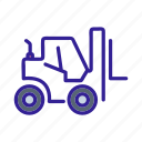 contruction, forklift, motor, vehicle, work icon