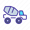 cargo, construction, mixer, truck, vehicle icon