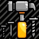 hammer, hammering, nail, tool icon
