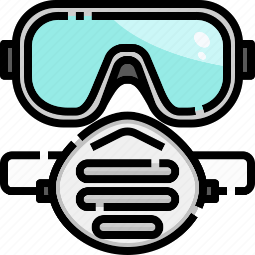 construction, equipment, facemask, goggles, protection, safety, security icon