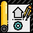 architecture, blueprint, buildings, map, plant icon