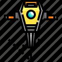 drill, jackhammer, motor, repair, repairing, work, working icon