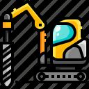 construction, drill, drilling, machine, transport, transportation, vehicle