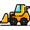 bulldozer, construction, excavator, transport, transportation