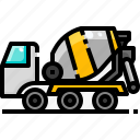 concrete, mixer, transportation, truck, vehicle icon