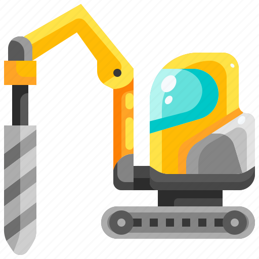 Construction, drill, drilling, machine, transport, transportation, vehicle icon - Download on Iconfinder