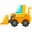 bulldozer, construction, excavator, transport, transportation icon