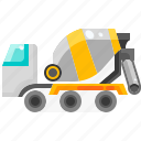 concrete, mixer, transportation, truck, vehicle icon