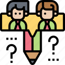 qualitative, research, questions, study, testing icon
