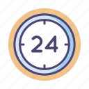 24, 24 hours, clock, hours icon