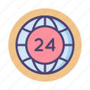24, 24 hours, around the clock icon