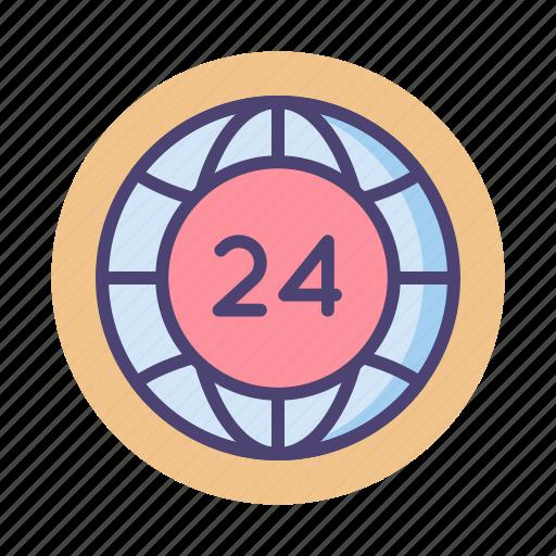 24, 24 hours, around the clock icon