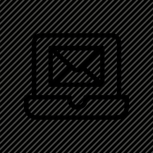 inbox, laptop, letter, mail, message icon