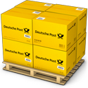 boxes, deutche post, goods, palet, products, shipment, shipping, warehouse icon