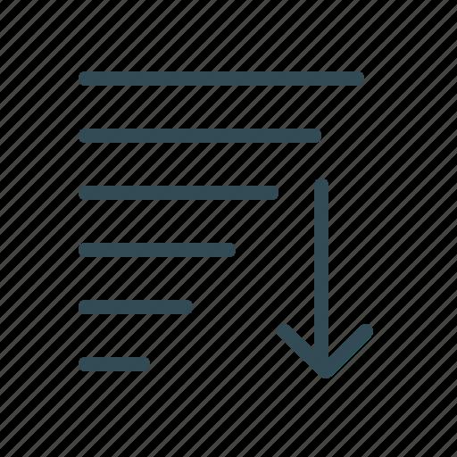 arrow, content, down, edit tools, lines, sort icon