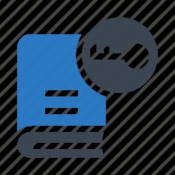 book, content, key, lock, password icon