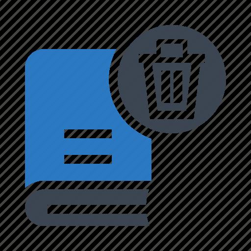 book, delete, education, remove, trash icon