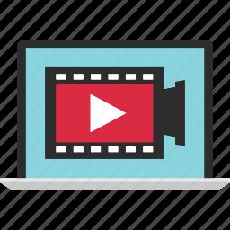 content, edit, laptop, media, video, youtube icon