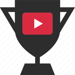 play, sign, trophy, video, youtube icon
