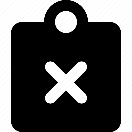 cancel, clipboard icon