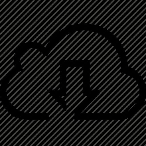 arrow, cloud, download icon
