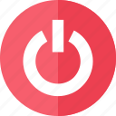 control, media, multimedia, red, shutdown icon