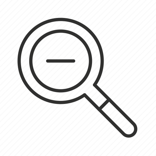 -, - sign, magnifying glass, negative, negative sign, zoom, zoom out icon