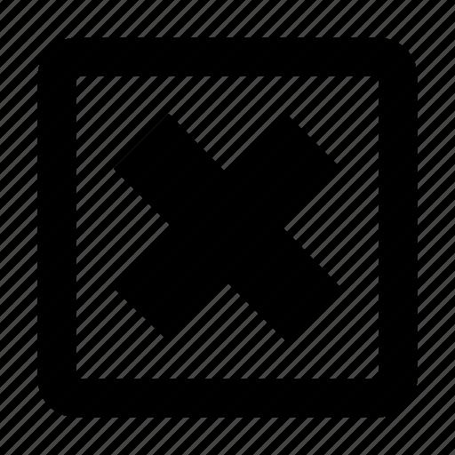 cancel button, close square, cross square, delete square, square remove button icon