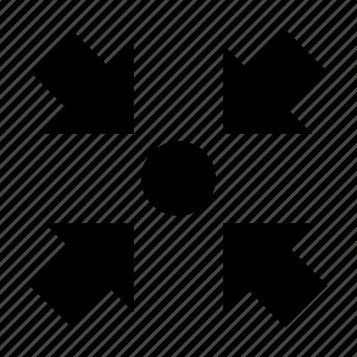 arrows, center, direction, inward arrows, middle icon