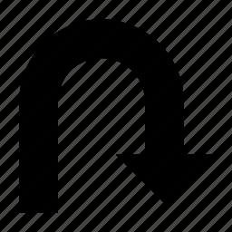arrow, down, right down, turning arrow, u-turn icon