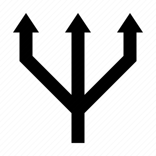 arrow, arrow fork, bifurcation arrow, navigational arrow, three way arrow icon