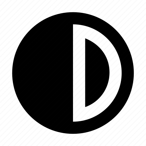 brightness button, brightness option, circle, contrast control, half circle icon