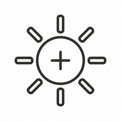 bright, brightness, decrease brightness, increase brightness, sun, sun icon, sunlight icon