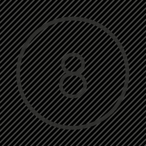 billiards, eight, eight ball, eight button, eight icon, number 8, pool icon